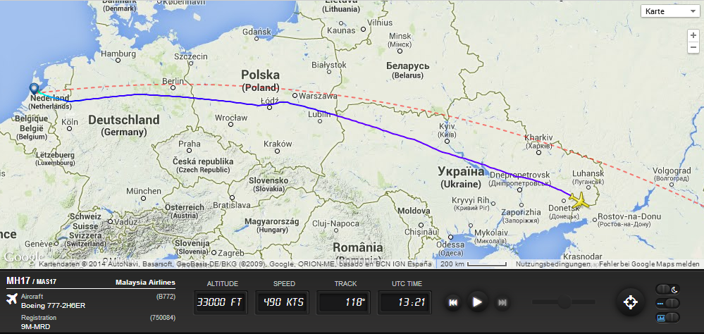Full flight history for Malaysia Airlines flight MH17